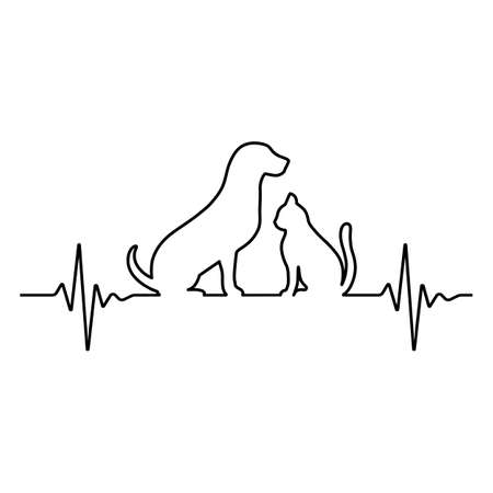 Line illustration of the pulse with dog and cat on white background