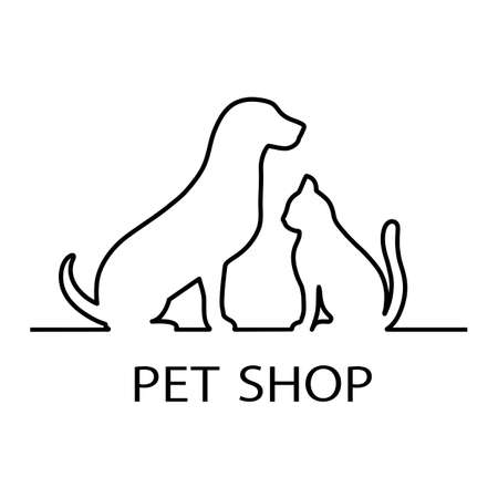Illustration Pet shop logo design template with silhouette of cat and dog