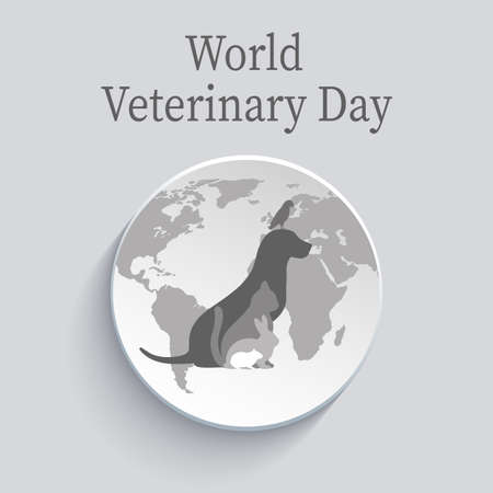 World Veterinary Day illustration on gray background with shadow