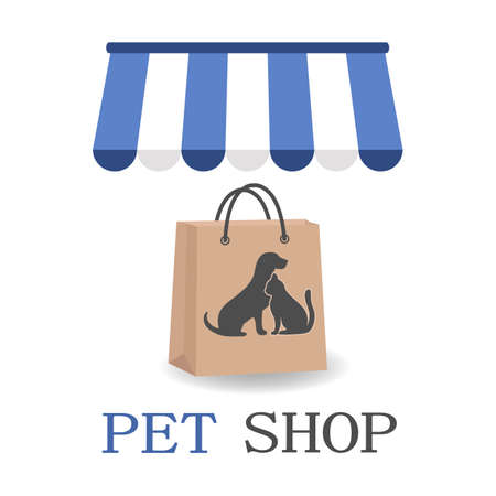 Pet Shop logo design template. Pack with a picture of a dog and a cat