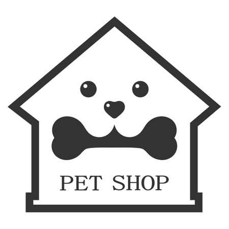 Pet shop illustration for pets with dog and bone on white background Illusztráció