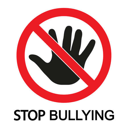 child stop bullying sign on a white background.