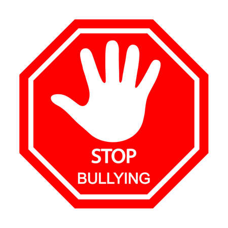 hand stop sign bullying on a white background