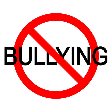 bullying sign in red crossed out circle on a white background