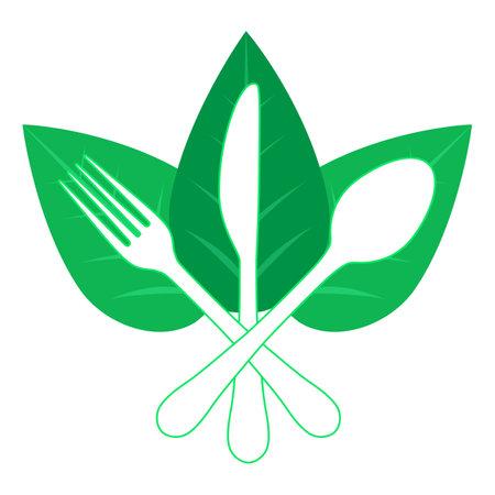 Vegetarian logo template. This design use leaf and fork symbol. Illusztráció