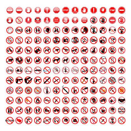 Illustration set of various prohibition signs Illusztráció