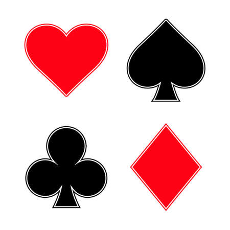 Set of card suits icon on white background.