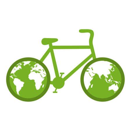 World Cyclist Day. Bicycle with earth globe world concept. Illusztráció