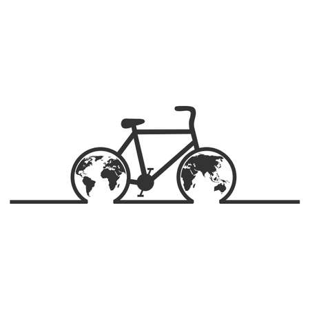 World Cycling Day. Bicycle with a planet on a white background.
