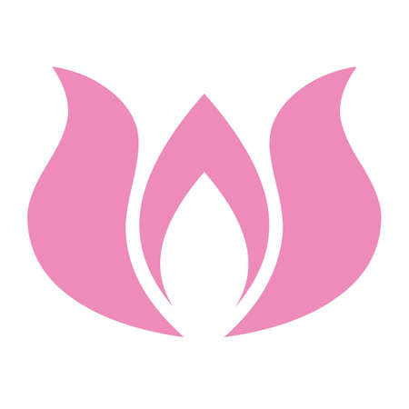 Abstract pink lotus flower logo illustration on white background Illusztráció