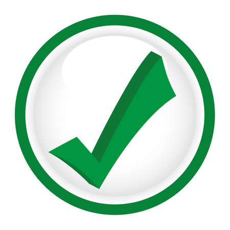 Illustration of a green sign approved in a circle on a white background