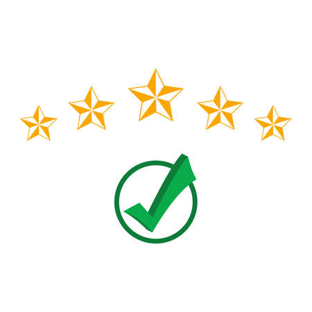 green check mark in a circle and a rating of five stars