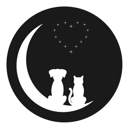 Illustration of a cat and a dog on the moon against the background of the night starry sky