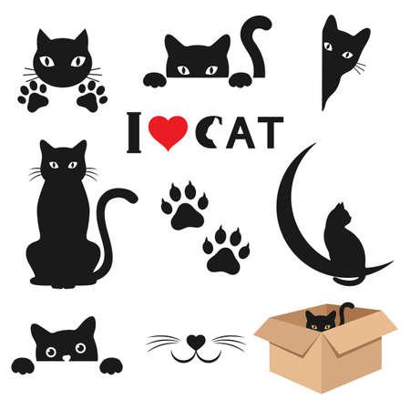 Illustration set of diverse black cats on a white background Illusztráció