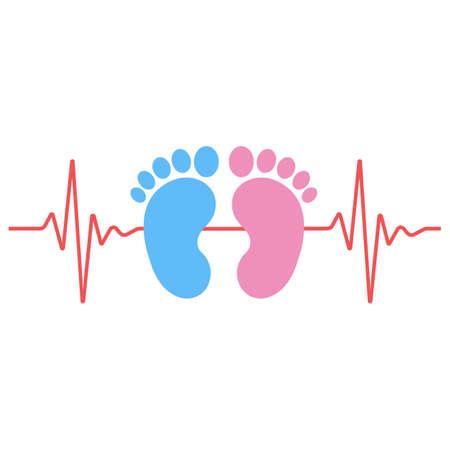 Illustration of imprint of footprints of boy and girl with cardiogram on white background Illusztráció