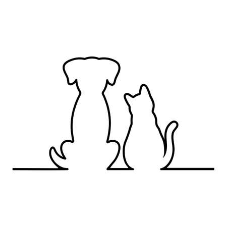 Contour linear illustration of a cat and a dog on a white background