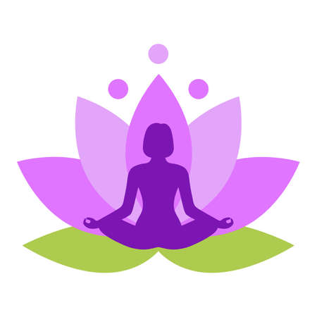 Illustration of a woman meditating on a pink lotus background