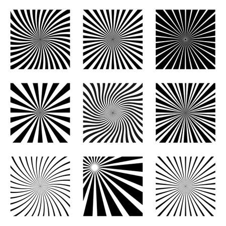 Illustration of an abstract set of black sun rays on a white background