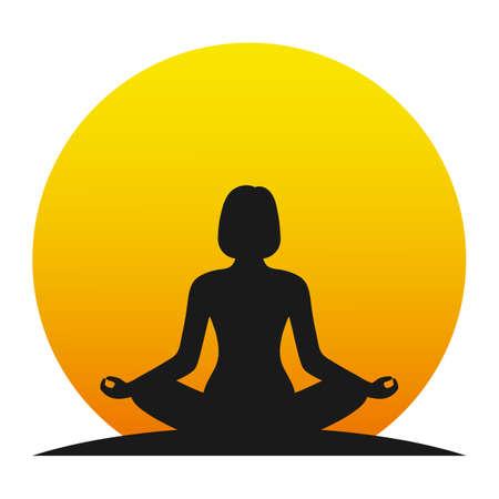 Lifestyle and yoga concept illustration on white background.
