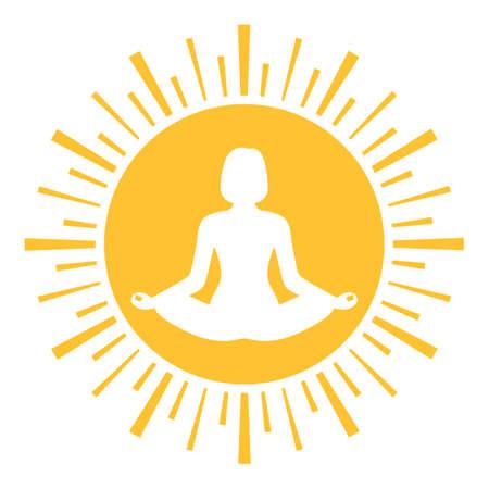 Illustration logo woman in lotus position on the background of the sun Illusztráció