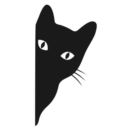 Illustration of a black cat peeking out from the corner on a white background