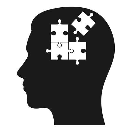 Human head illustration with puzzles elements for psychology and concept design