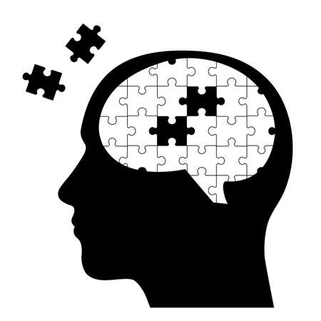 Illustration of a human head with brain and puzzle pieces. Illusztráció