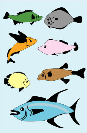 сolor silhouettes of fishes Stock Vector - 9429752