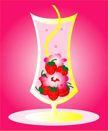 Cocktail with a strawberry air foam and a straws Vector
