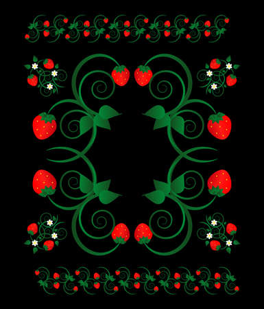 strawberry with flowers on black background Illustration