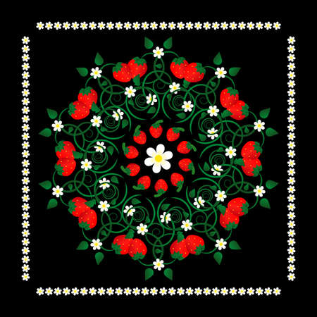 strawberry with flowers in circle pattern on black background Stock Vector - 9479618