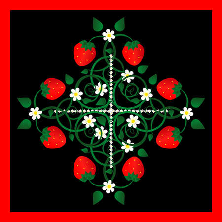 strawberry with flowers on black background Stock Vector - 9479614