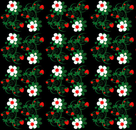 strawberry with flower seamless texture on black background Vector
