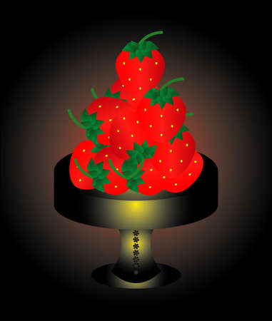 strawberry on a dish on a black background Stock Vector - 9479607
