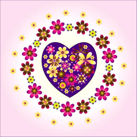 heart decorative with circle  flowers on pink background Illustration