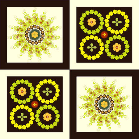 pattern flower circle on square yellow background