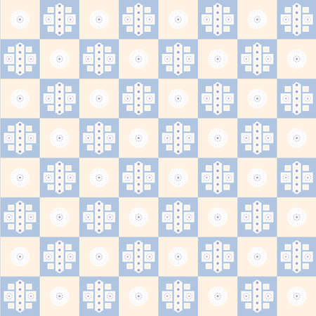 biege: flower square seamless texture on blue and biege background Illustration