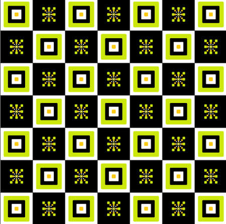 rectangle square seamless texture on black and green background Illustration