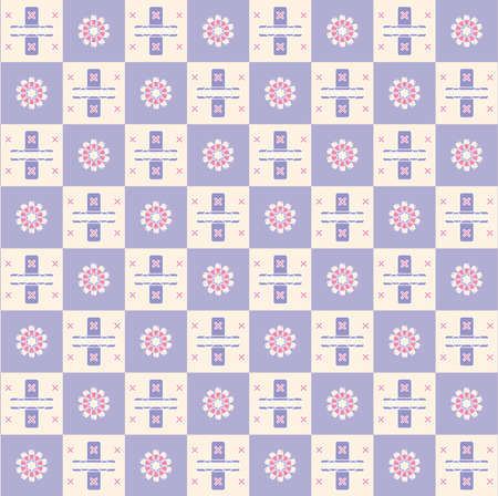 biege: flower square seamless texture on violet and biege background