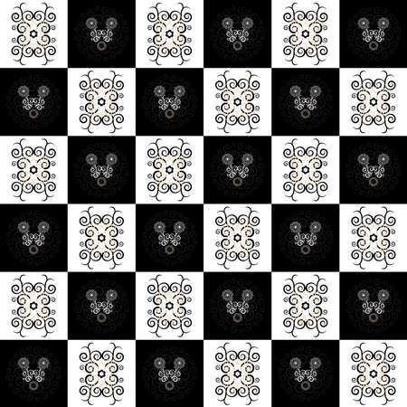 pattern flower seamless texture on black and white background