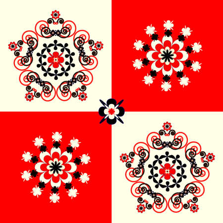 biege: flower pattern square background with circle curl