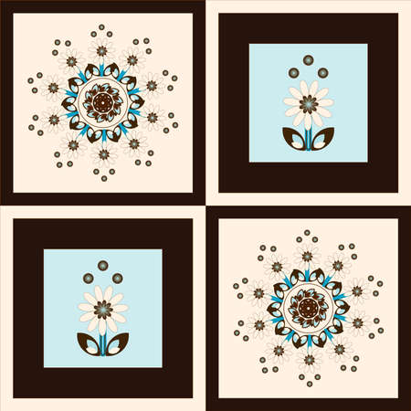 flower pattern square background with circle curl Stock Vector - 9555463