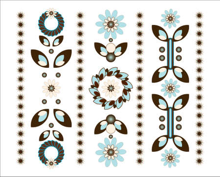 biege: flower decorative ornament vertical on white background