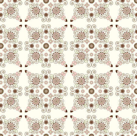 flower pattern seamless texture on biege background Illustration