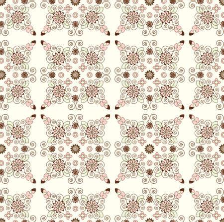 biege: flower pattern seamless texture on biege background Illustration