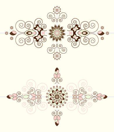biege: flower pattern horizontal ornament on biege background Illustration