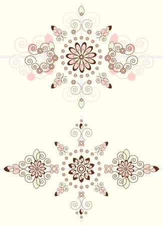 flower pattern horizontal ornament on biege background Illustration