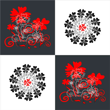 flower pattern square background with curl circle