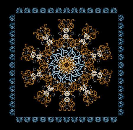 wallpaper background: flower circle decorative  pattern on black background