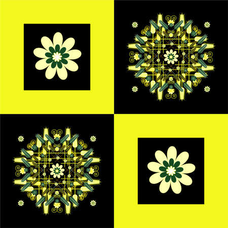 flower pattern with wheat  on square background Vector